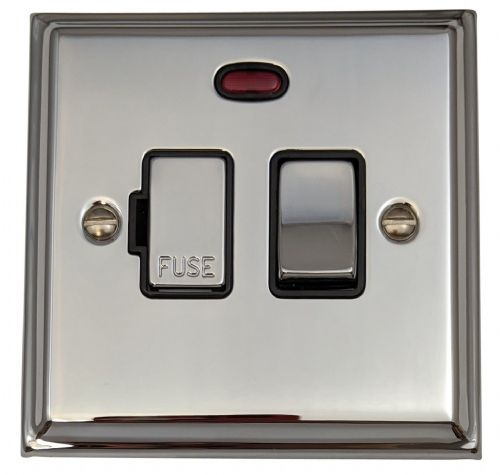 G&H DC327 Deco Plate Polished Chrome 1 Gang Fused Spur 13A Switched & Neon